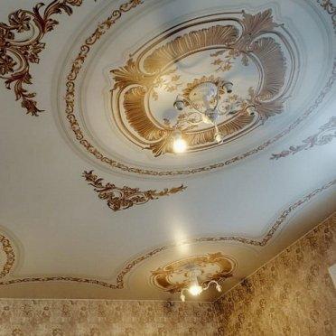 Натяжной потолок фотопечать золото