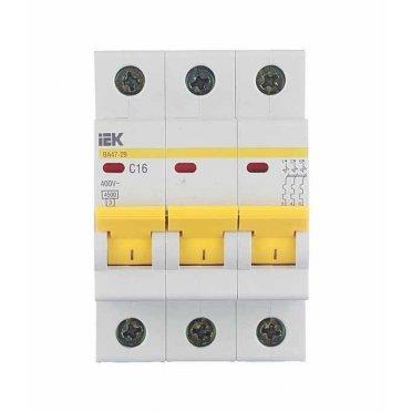 Автомат IEK ВА 47-29 (MVA20-3-016-C) 3P 16 А тип C 4,5 кА 400 В на DIN-рейку