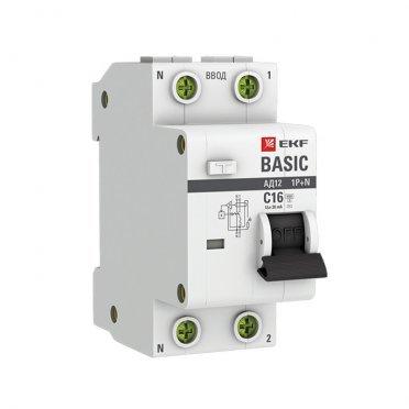 Автомат дифференциальный EKF АД-12 (DA12-16-30-bas) 16 А 30 мА 2P тип АС 4,5 кА