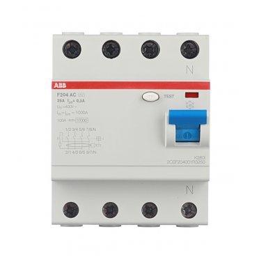 УЗО ABB F204 (2CSF204001R3250) 25 А 300 мА 4P тип AC 10 кА