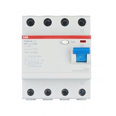 УЗО ABB F204 (2CSF204001R1630) 63 А 30 мА 4P тип AC 10 кА