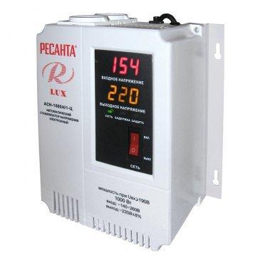 Стабилизатор напряжения Ресанта АСН-1000 Н/1-Ц Lux однофазный 220 В 0,83 кВА релейный навесной