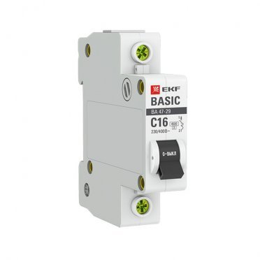 Автомат EKF ВА 47-29 (mcb4729-1-16C) 1P 16 А тип C 4,5 кА 230 В на DIN-рейку