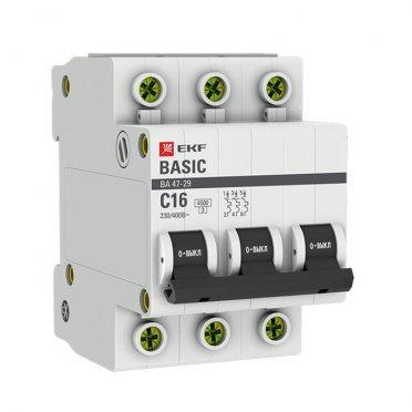 Автомат EKF ВА 47-29 (mcb4729-3-16C) 3P 16 А тип C 4,5 кА 400 В на DIN-рейку