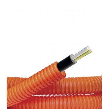 Труба гофрированная ПНД 16 мм DKC (7S91650) оранжевая (50 м) с кабелем ВВГнг-LS 3х2,5
