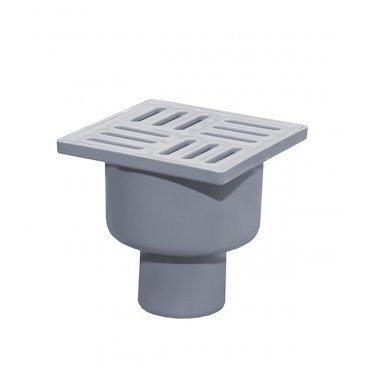 Трап вертикальный с сухим затвором 100х100 мм d50 мм пластиковая решетка с поплавком серый
