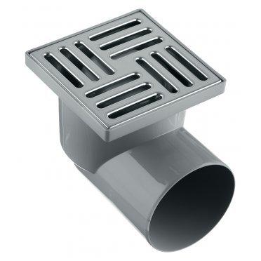 Трап горизонтальный (TA1112) с гидрозатвором 150х150 мм d110 мм решетка из нержавеющей стали не регулируемый