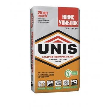 Клей для газобетона Юнис Униблок серый 25 кг