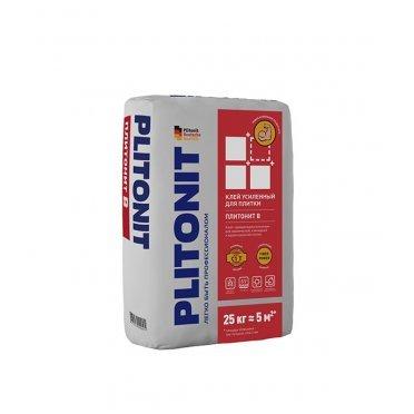 Клей для плитки и керамогранита Plitonit В усиленный с армирующими волокнами серый (класс С1) 25 кг
