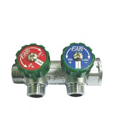 Коллектор Far (FK 3821 3412TP) 3/4 ВР(г) х 2 выхода 1/2 НР(ш) х 3/4 НР(ш) регулируeмый