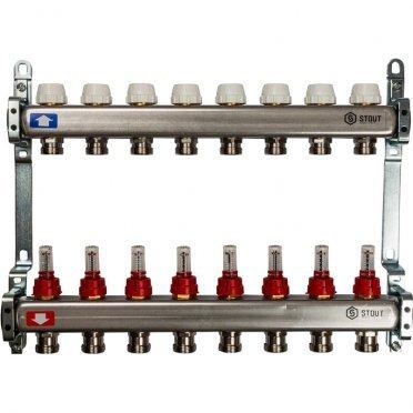 Коллекторная группа Stout (SMS 0917 000008) 1 ВР(г) х 8 выходов 3/4 НР(ш) ЕК х 1 ВР(г) с расходомерами нержавеющая сталь