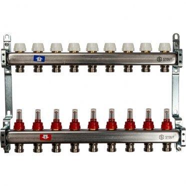 Коллекторная группа Stout (SMS 0917 000009) 1 ВР(г) х 9 выходов 3/4 НР(ш) ЕК х 1 ВР(г) с расходомерами нержавеющая сталь