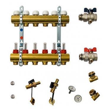 Коллекторная группа Tiemme 1 ВР(г) х 6 выходов 3/4 НР(ш) ЕК х 1 ВР(г) с расходомерами