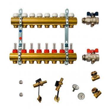 Коллекторная группа Tiemme 1 ВР(г) х 8 выходов 3/4 НР(ш) ЕК х 1 ВР(г) с расходомерами