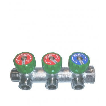Коллектор Far (FK 3822 3412TP) 3/4 ВР(г) х 3 выхода 1/2 НР(ш) х 3/4 НР(ш) регулируeмый