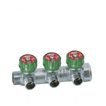 Коллектор Far (FK 3822 134) 1 ВР(г) х 3 выхода 3/4 НР(ш) ЕК х 1 НР(ш) регулируeмый