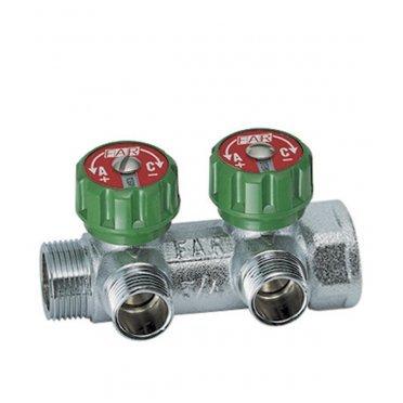 Коллектор Far (FK 3821 134) 1 ВР(г) х 2 выхода 3/4 НР(ш) ЕК х 1 НР(ш) регулируeмый