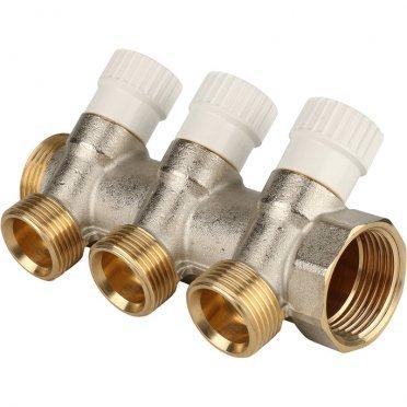 Коллектор Stout (SMB 6851 013403) 1 ВР(г) х 3 выхода 3/4 НР(ш) ЕК х 1 НР(ш) регулируeмый