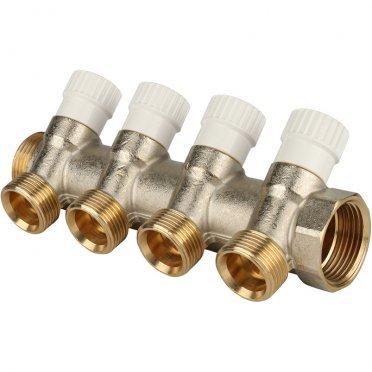 Коллектор Stout (SMB 6851 013404) 1 ВР(г) х 4 выхода 3/4 НР(ш) ЕК х 1 НР(ш) регулируeмый