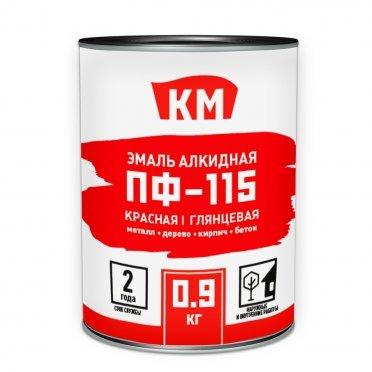 Эмаль ПФ-115 КМ красная глянцевая 0,9 кг