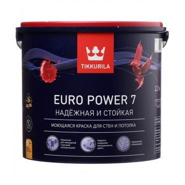 Краска Tikkurila Euro Power 7 моющаяся белая основа А 2,7 л