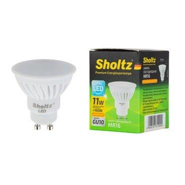 Лампа светодиодная Sholtz 11 Вт GU10 рефлектор MR16 2700 К теплый свет 220-240 В керамика/пластик