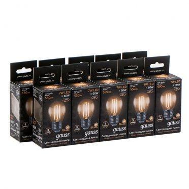 Лампа светодиодная Gauss Filament 7 Вт E27 филаментная шар 2700 К теплый свет 150-265 В прозрачная (10 шт.)