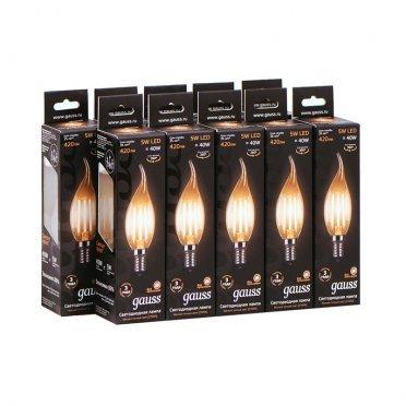 Лампа светодиодная Gauss Filament 5 Вт E14 филаментная свеча на ветру 2700 К теплый свет 150-265 В прозрачная (10 шт.)