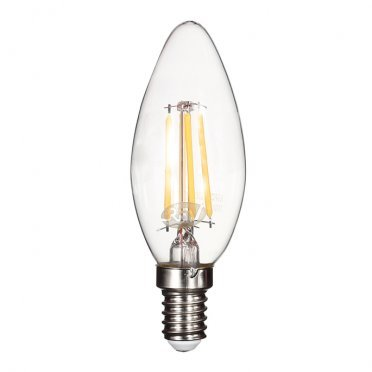 Лампа светодиодная 5 Вт E14 филаментная свеча С37 2700 К теплый свет 230 В