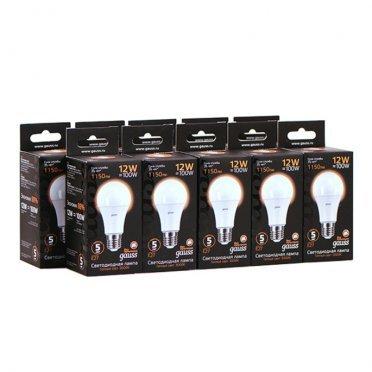 Лампа светодиодная Gauss 12 Вт E27 груша A60 3000 К теплый свет 150-265 В матовая (10 шт.)