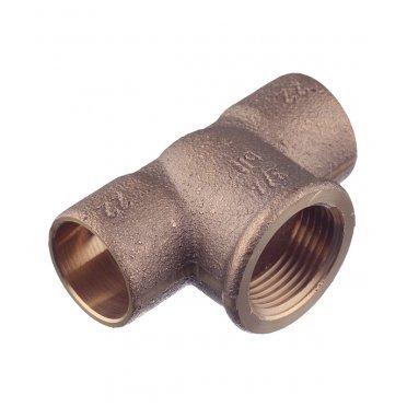 Тройник Viega под внутреннюю пайку 22 мм х 3/4 ВР(г) х 22 мм медный