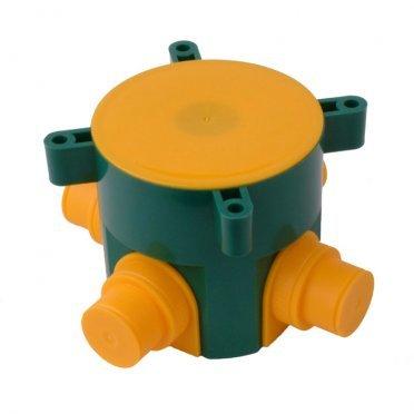 Коробка распределительная HEGEL для заливки бетоном d73х72 мм 4 ввода зеленая IP44 с крышкой
