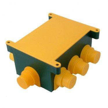 Коробка распределительная HEGEL для заливки бетоном 173х130х60 мм 8 вводов зеленая IP44 с крышкой