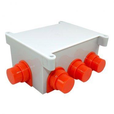 Коробка распределительная Промрукав для заливки бетоном 118x76x60 мм 8 вводов серая IP44 с крышкой безгалогенная