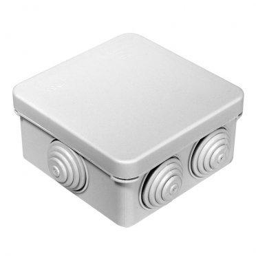 Коробка распределительная Промрукав для открытой установки 80х80х40 мм 7 вводов серая IP55 атмосферостойкая безгалогенная