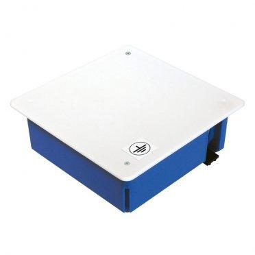 Коробка уравнивания потенциалов Промрукав для гипсокартона 103х103х47 мм 18 вводов синяя IP20 с крышкой с саморезами