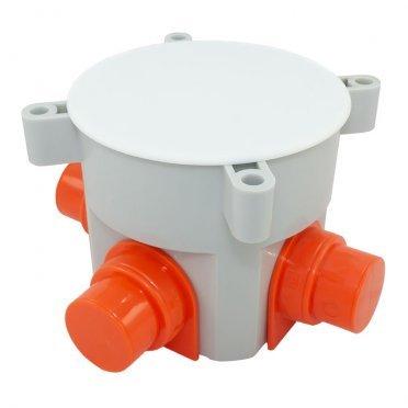 Коробка установочная Промрукав для заливки бетоном d70x70 мм 4 ввода серая IP44 с крышкой безгалогенная
