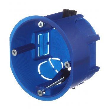 Подрозетник Промрукав для гипсокартона d68х45 мм 4 ввода синий IP20 с пластмассовыми лапками безгалогенный
