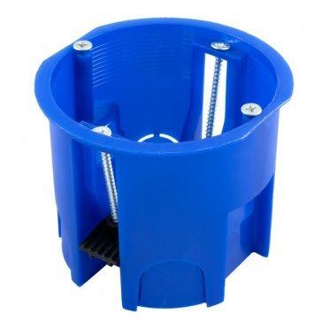 Подрозетник Промрукав для гипсокартона d68х60 мм 4 ввода синий IP20 с пластмассовыми лапками с винтами безгалогенный
