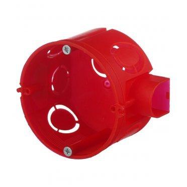 Подрозетник Промрукав для бетона d68х42 мм 7 вводов красный IP20 с саморезами с соединителями безгалогенный