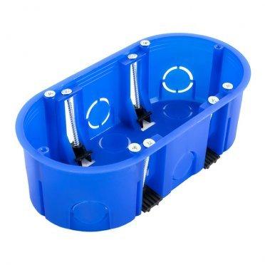 Подрозетник Промрукав для гипсокартона 140х68х45 мм 12 вводов синий IP20 с пластмассовыми лапками с винтами безгалогенный