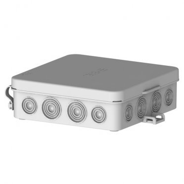 Коробка распределительная HEGEL для открытой установки 103х103х32 мм 16 вводов серая IP54 с замками