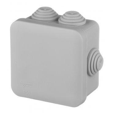 Коробка распределительная Schneider Electric для открытой установки 70х70х40 мм 6 вводов серая IP55