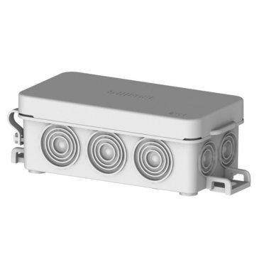 Коробка распределительная HEGEL для открытой установки 81х38х30 мм 10 вводов серая IP54 с замками