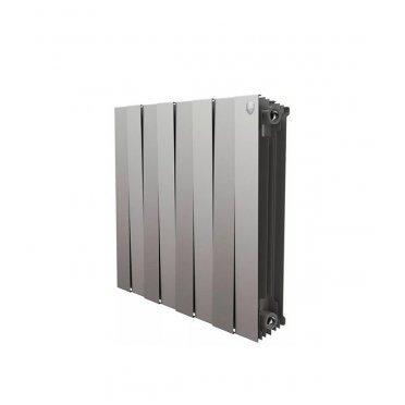 "Радиатор биметаллический Royal Thermo Piano Forte 500 мм 8 секций 1"" боковое подключение 591х640 мм серый"