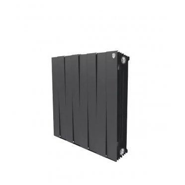 """Радиатор биметаллический Royal Thermo Piano Forte 500 мм 8 секций 1"""" боковое подключение 591х640 мм черный"""