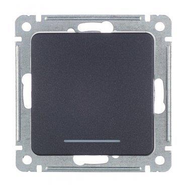 Выключатель HEGEL Master ВС10-412-08 одноклавишный скрытая установка черный с подсветкой