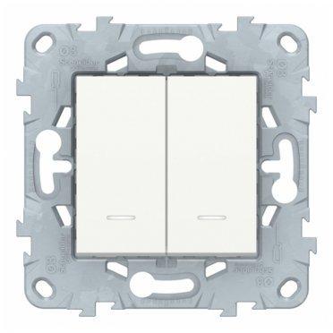 Выключатель Schneider Electric Unica NEW NU521118N двухклавишный скрытая установка белый с подсветкой