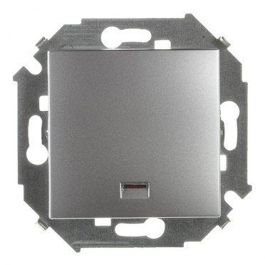 Выключатель Simon 15 1591104-033 одноклавишный скрытая установка алюминий с подсветкой