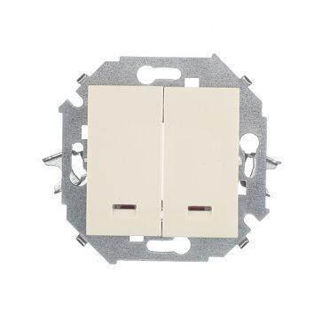 Выключатель Simon 15 1591392-031 двухклавишный скрытая установка слоновая кость с подсветкой